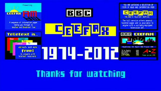 A Ceefax screen from its last-ever day
