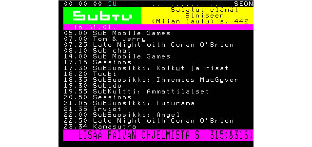 SubTV teletext program guide