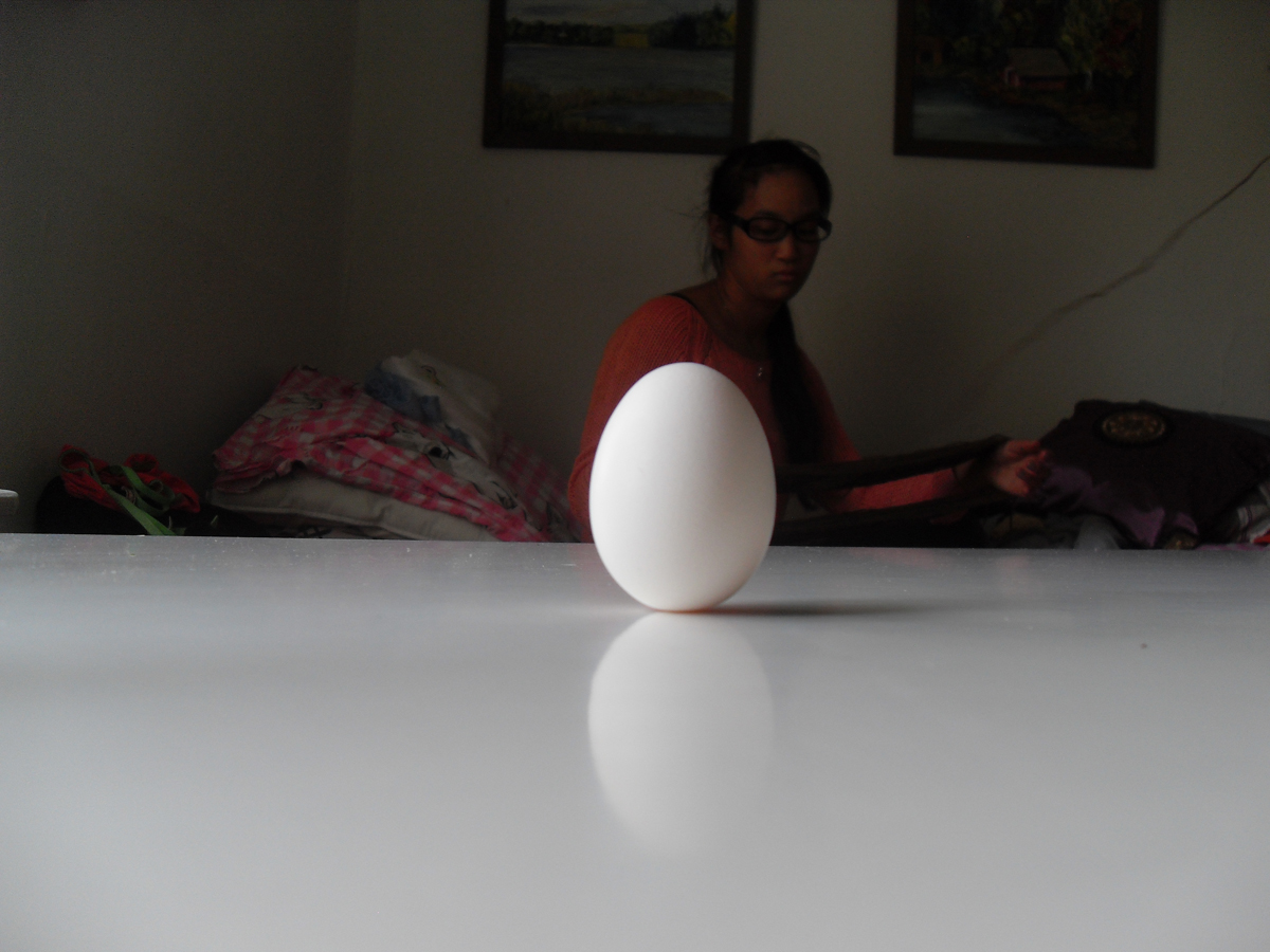 An egg is successfully balanced on a table, while Naa looks on unimpressed.