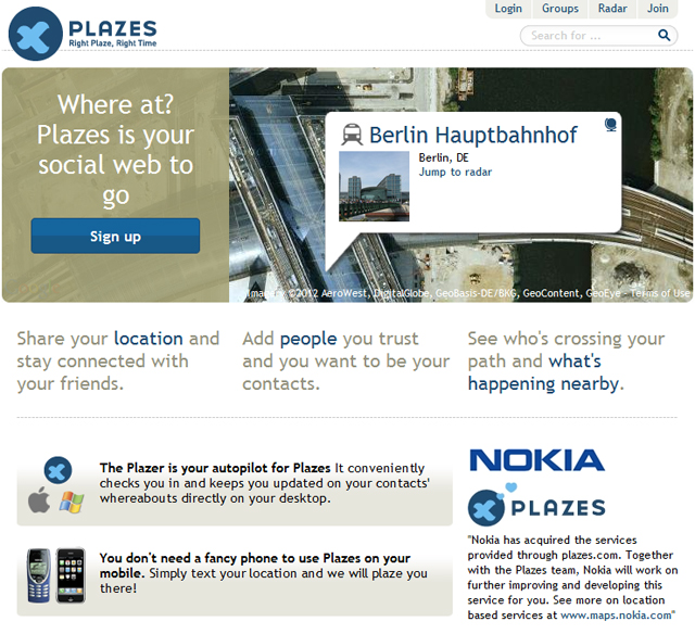The home page for Plazes on May 4, 2012