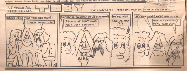 Sometime in 1971 a few people chuckle at a cartoon strip